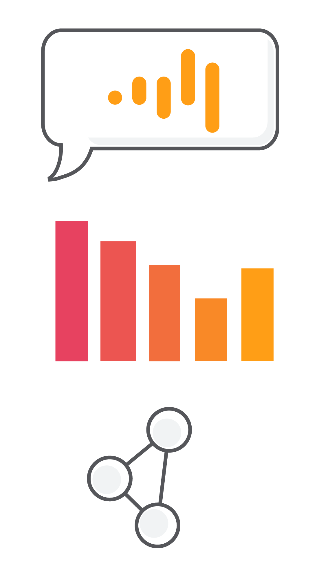 A speech bubble with the DarwinSpeech logo, a pink and orange bar chart, and a node graph
