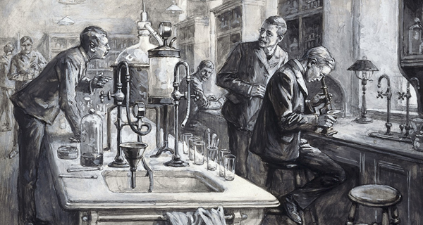 old fashioned sketch of laboratory