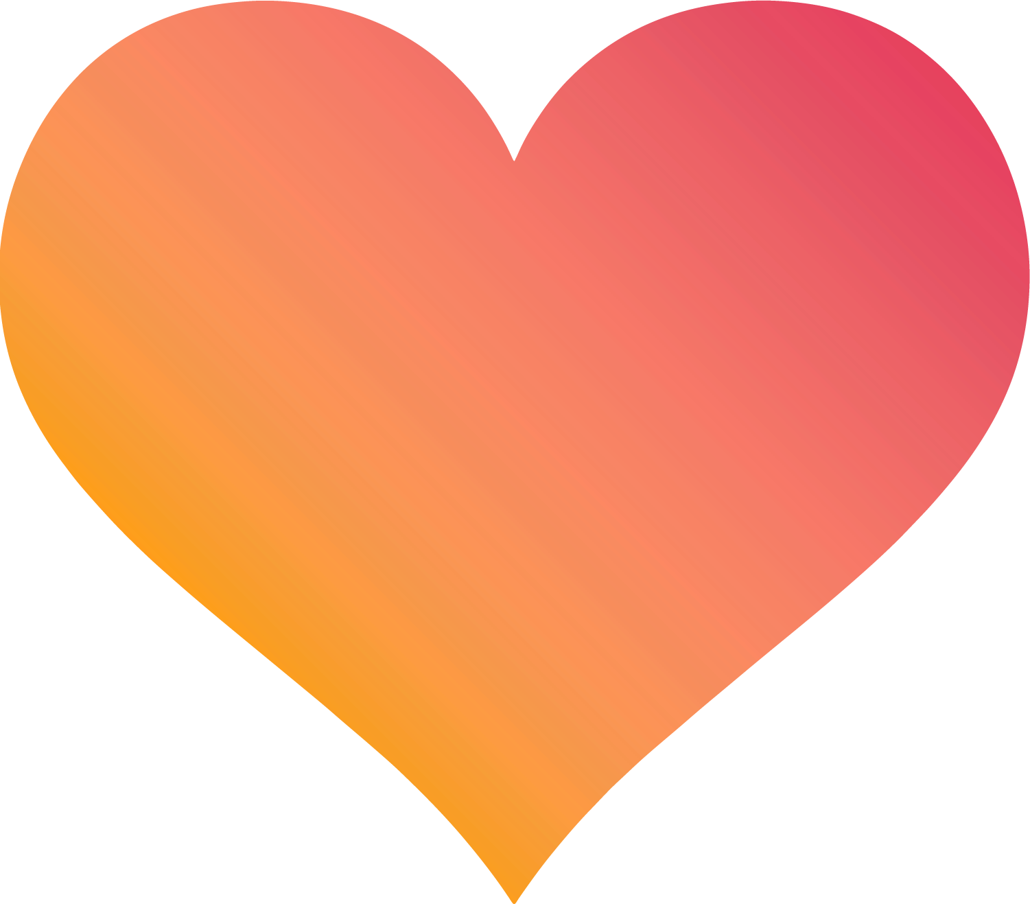 A heart with a pink and orange gradient fill